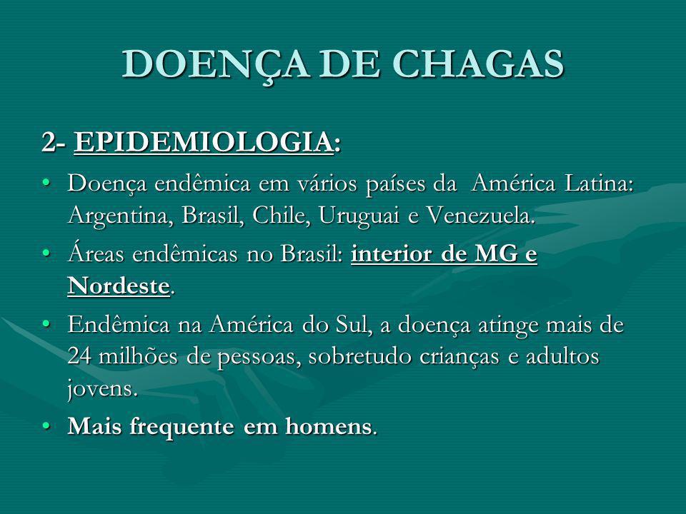 DOENÇA DE CHAGAS 2- EPIDEMIOLOGIA: Doença endêmica em vários países da América Latina: Argentina, Brasil, Chile, Uruguai e Venezuela.Doença endêmica e