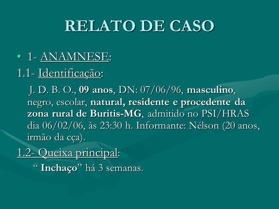 RELATO DE CASO 1- ANAMNESE:1- ANAMNESE: 1.1- Identificação: J. D. B. O., 09 anos, DN: 07/06/96, masculino, negro, escolar, natural, residente e proced