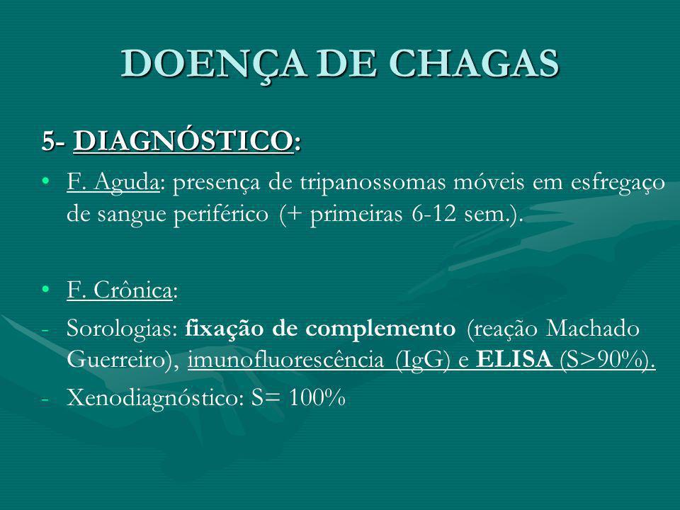 DOENÇA DE CHAGAS 5- DIAGNÓSTICO: F. Aguda: presença de tripanossomas móveis em esfregaço de sangue periférico (+ primeiras 6-12 sem.). F. Crônica: - -