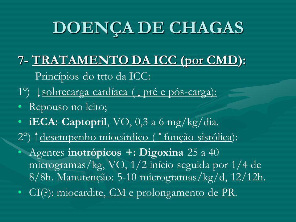 DOENÇA DE CHAGAS 7- TRATAMENTO DA ICC (por CMD): Princípios do ttto da ICC: 1º) sobrecarga cardíaca ( pré e pós-carga): Repouso no leito; iECA: Captop
