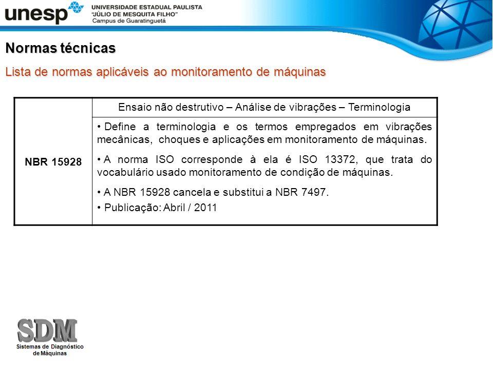 Normas técnicas Lista de normas aplicáveis ao monitoramento de máquinas NBR 15928 Ensaio não destrutivo – Análise de vibrações – Terminologia Define a