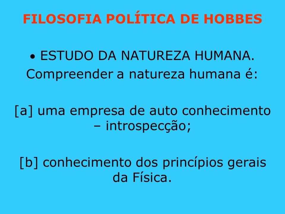 FILOSOFIA POLÍTICA DE HOBBES ESTUDO DA NATUREZA HUMANA. Compreender a natureza humana é: [a] uma empresa de auto conhecimento – introspecção; [b] conh