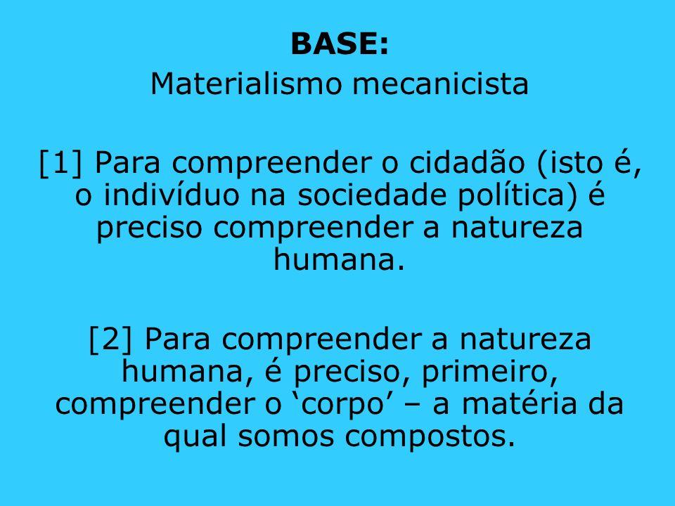 BASE: Materialismo mecanicista [1] Para compreender o cidadão (isto é, o indivíduo na sociedade política) é preciso compreender a natureza humana. [2]
