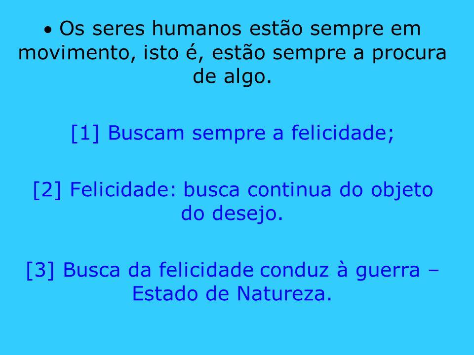 Os seres humanos estão sempre em movimento, isto é, estão sempre a procura de algo. [1] Buscam sempre a felicidade; [2] Felicidade: busca continua do