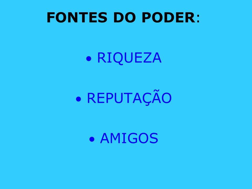 FONTES DO PODER: RIQUEZA REPUTAÇÃO AMIGOS