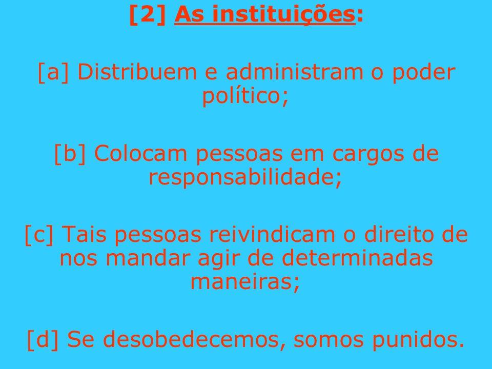 [2] As instituições: [a] Distribuem e administram o poder político; [b] Colocam pessoas em cargos de responsabilidade; [c] Tais pessoas reivindicam o