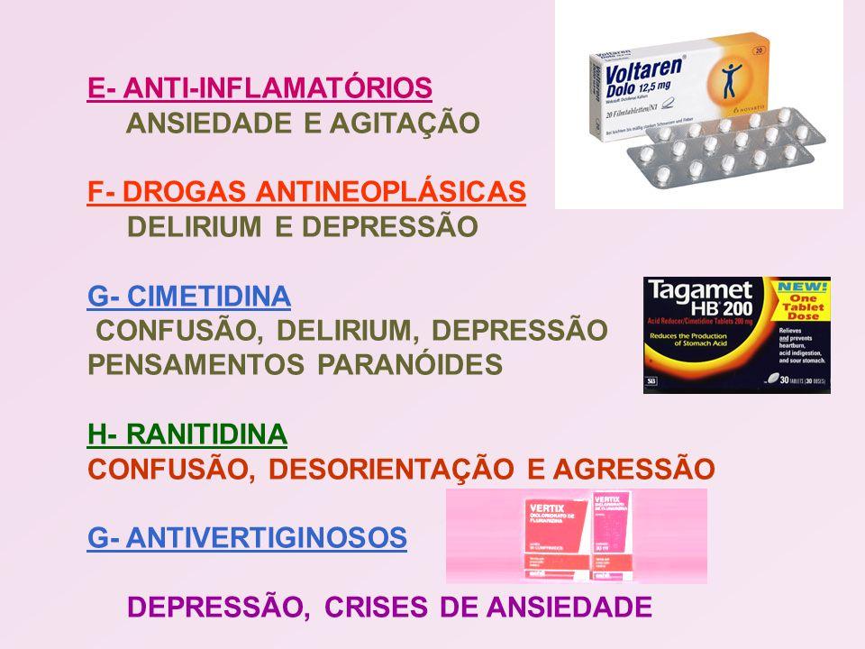 E- ANTI-INFLAMATÓRIOS ANSIEDADE E AGITAÇÃO F- DROGAS ANTINEOPLÁSICAS DELIRIUM E DEPRESSÃO G- CIMETIDINA CONFUSÃO, DELIRIUM, DEPRESSÃO PENSAMENTOS PARA