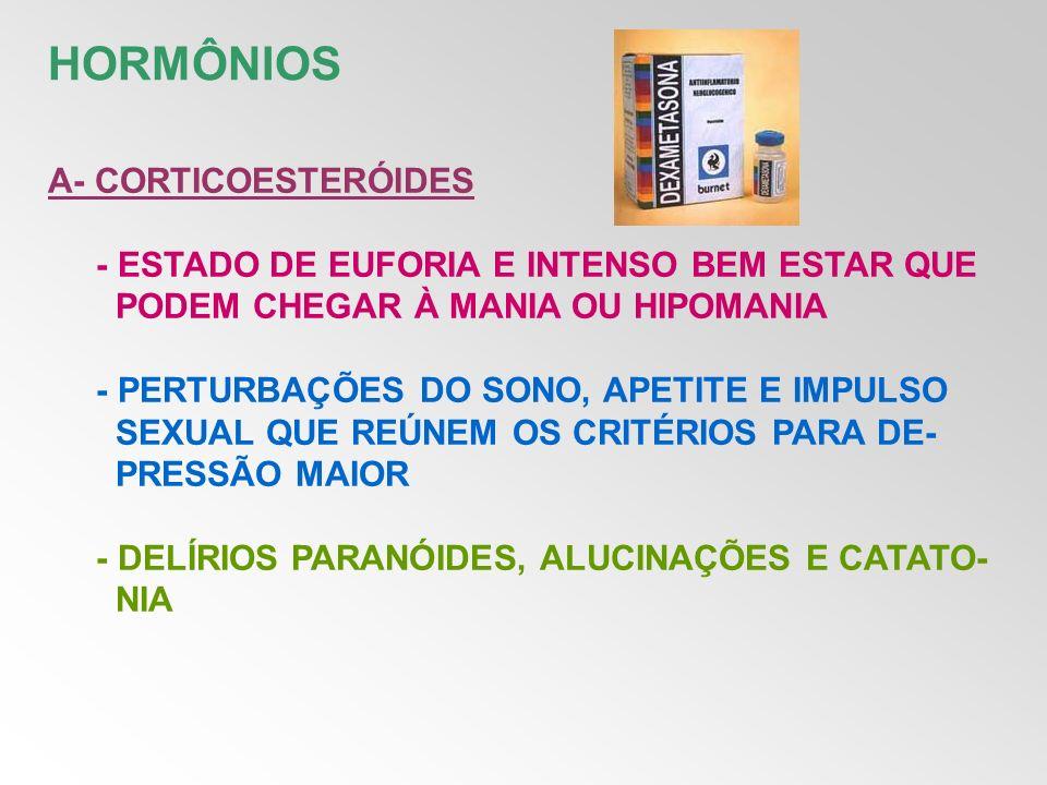B- MEDICAMENTOS DE REPOSIÇÃO TIREOIDEANA - AGITAÇÃO - ANSIEDADE - HIPERATIVIDADE - DELÍRIOS - HIPOMANIA - COMPORTAMENTO CLARAMENTE MANÍACO
