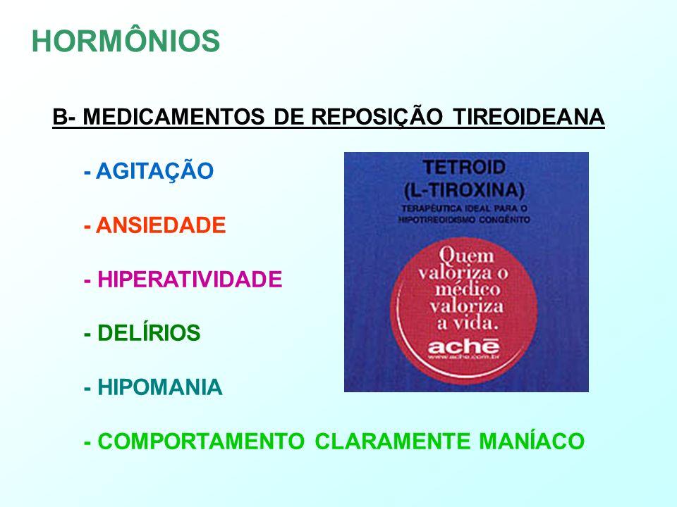 C- ANTICONCEPCIONAIS -I-INCIDÊNCIA ENTRE 5 E 35% DE SINTOMAS DEPRESSIVOS