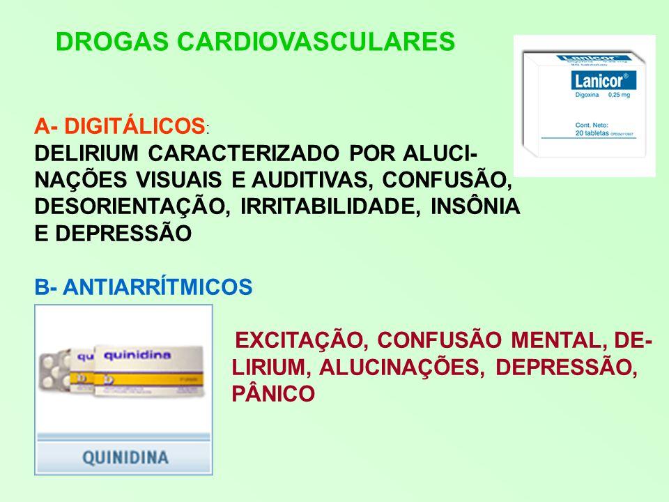 ANTIHIPERTENSIVOS A- DIURÉTICOS APATIA, DESORIENTAÇÃO, INSÔNIA ALUCINAÇÕES E DELIRIUM B- SIMPATICOLÍTICOS: SINTOMAS DEPRESSIVOS, PENSA- MENTOS PARANÓIDES, AMNÉSIA, PESADELOS C- BETABLOQUEADORES: DEPRESSÃO, PESADELOS, ALUCINA- ÇÕES VISUAIS, PSICOSE TÓXICA