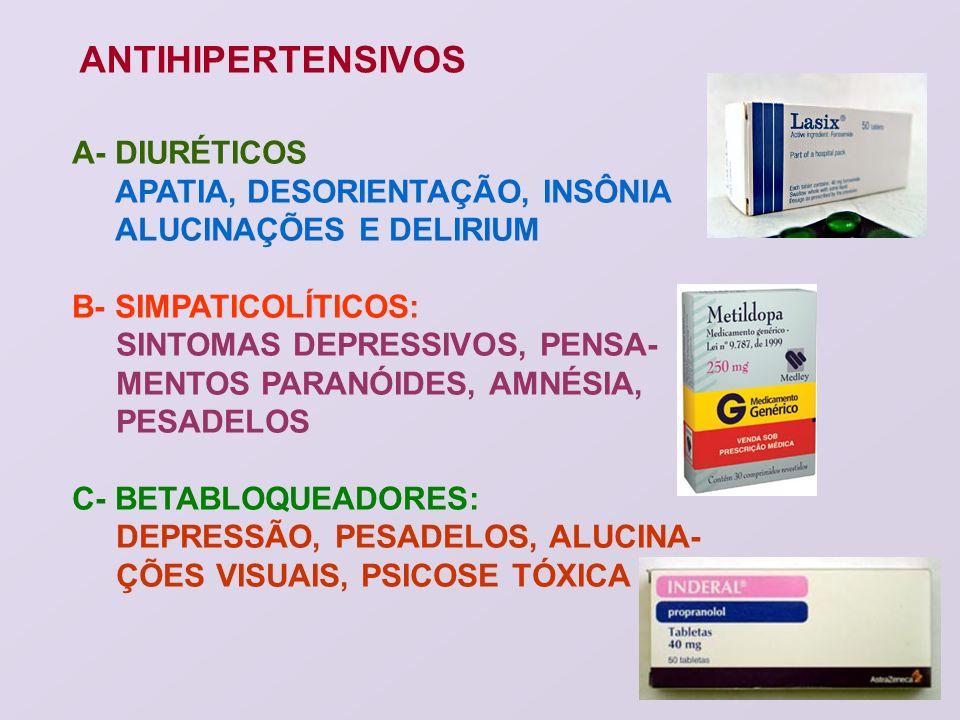 ANTIHIPERTENSIVOS A- DIURÉTICOS APATIA, DESORIENTAÇÃO, INSÔNIA ALUCINAÇÕES E DELIRIUM B- SIMPATICOLÍTICOS: SINTOMAS DEPRESSIVOS, PENSA- MENTOS PARANÓI