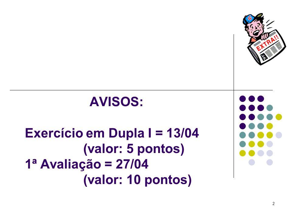 2 AVISOS: Exercício em Dupla I = 13/04 (valor: 5 pontos) 1ª Avaliação = 27/04 (valor: 10 pontos)