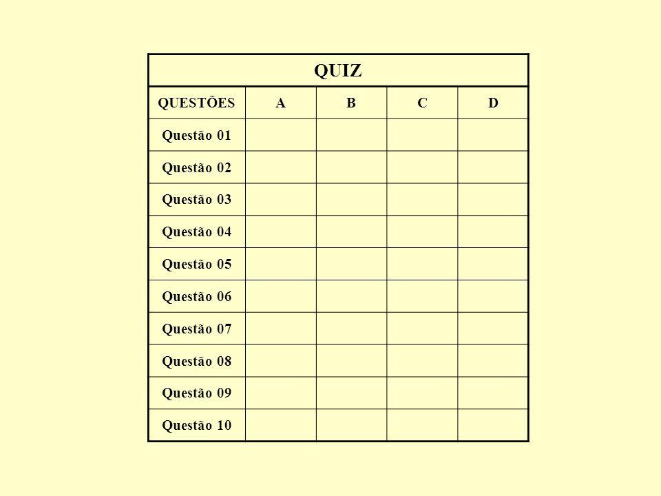 29 QUIZ QUESTÕESABCD Questão 01 Questão 02 Questão 03 Questão 04 Questão 05 Questão 06 Questão 07 Questão 08 Questão 09 Questão 10