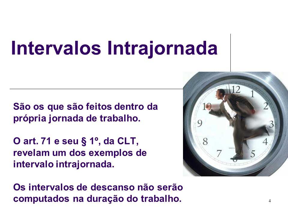 4 São os que são feitos dentro da própria jornada de trabalho. O art. 71 e seu § 1º, da CLT, revelam um dos exemplos de intervalo intrajornada. Os int