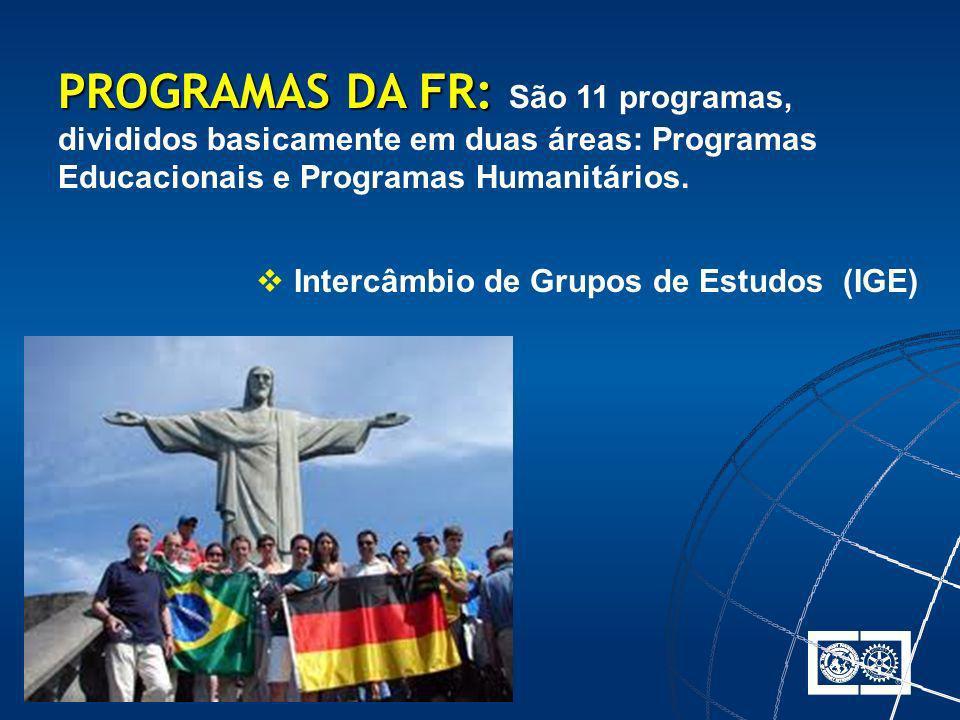 Intercâmbio de Grupos de Estudos (IGE) PROGRAMAS DA FR: PROGRAMAS DA FR: São 11 programas, divididos basicamente em duas áreas: Programas Educacionais