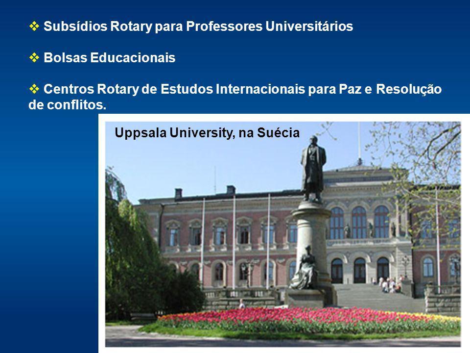 Subsídios Rotary para Professores Universitários Bolsas Educacionais Centros Rotary de Estudos Internacionais para Paz e Resolução de conflitos. Uppsa