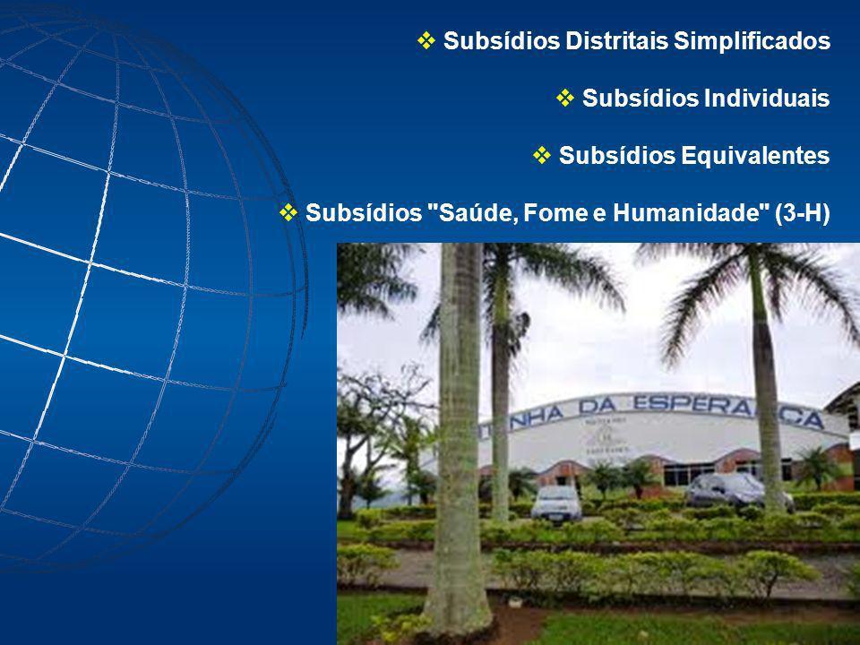 Subsídios Distritais Simplificados Subsídios Individuais Subsídios Equivalentes Subsídios