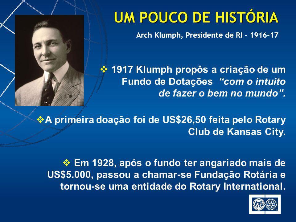 1917 Klumph propôs a criação de um Fundo de Dotações com o intuito de fazer o bem no mundo. A primeira doação foi de US$26,50 feita pelo Rotary Club d