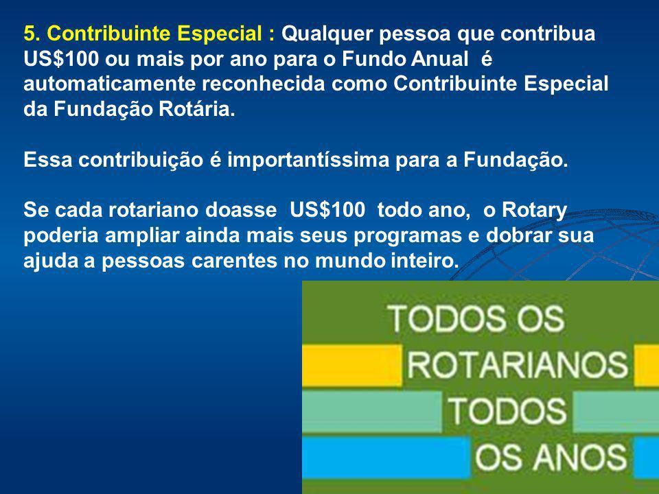 5. Contribuinte Especial : Qualquer pessoa que contribua US$100 ou mais por ano para o Fundo Anual é automaticamente reconhecida como Contribuinte Esp