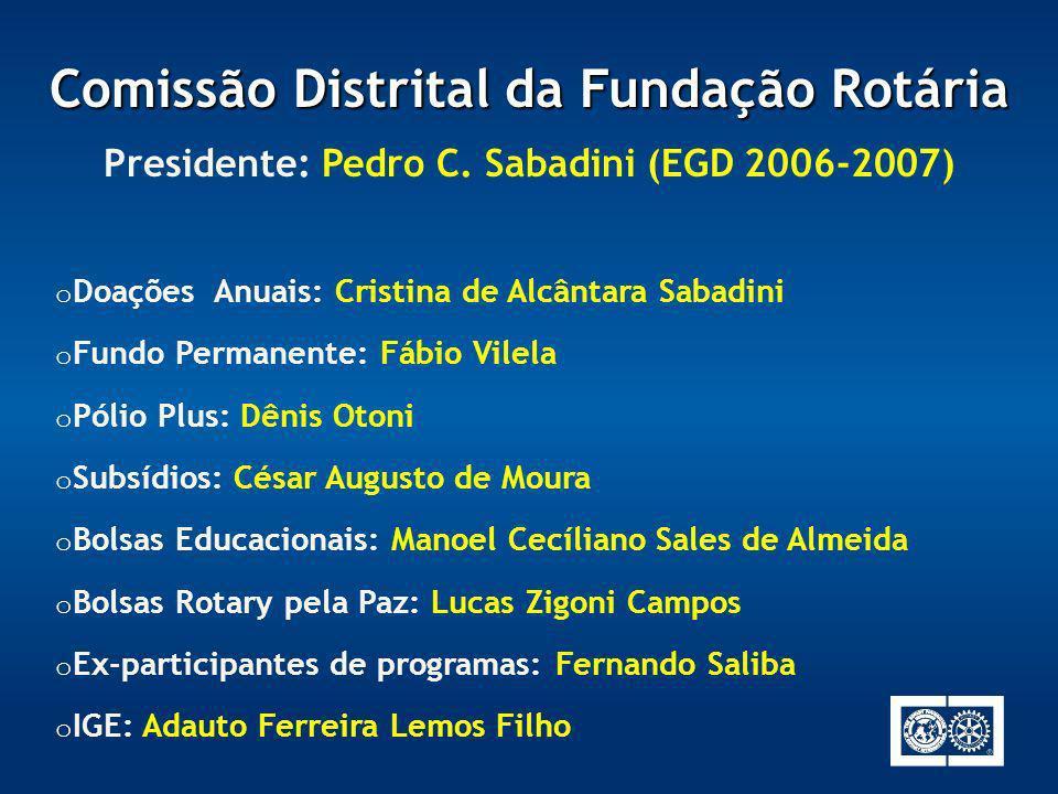 o Doações Anuais: Cristina de Alcântara Sabadini o Fundo Permanente: Fábio Vilela o Pólio Plus: Dênis Otoni o Subsídios: César Augusto de Moura o Bols