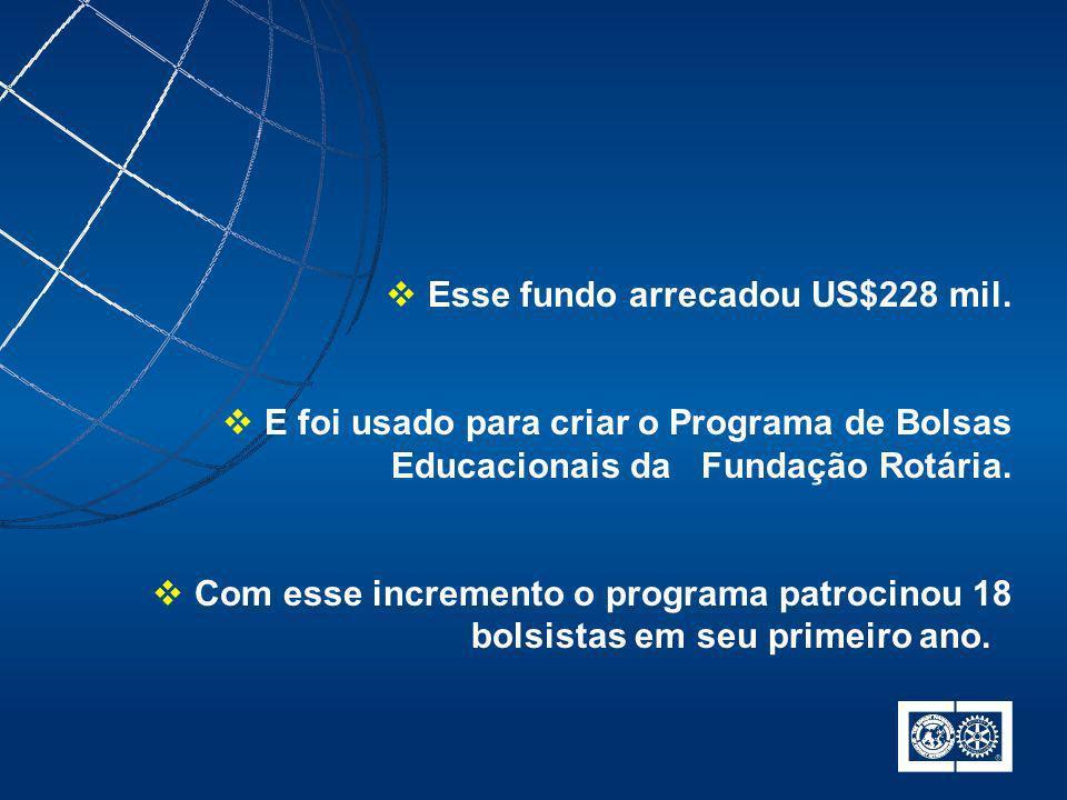 Esse fundo arrecadou US$228 mil. E foi usado para criar o Programa de Bolsas Educacionais da Fundação Rotária. Com esse incremento o programa patrocin