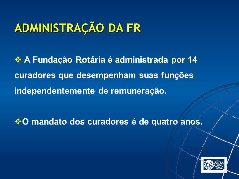 A Fundação Rotária é administrada por 14 curadores que desempenham suas funções independentemente de remuneração. O mandato dos curadores é de quatro