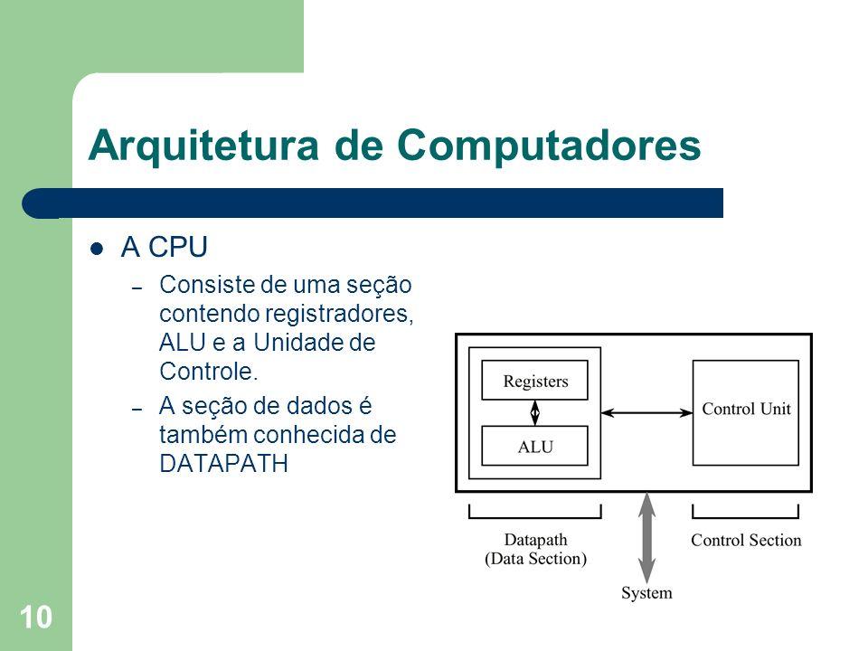 10 Arquitetura de Computadores A CPU – Consiste de uma seção contendo registradores, ALU e a Unidade de Controle. – A seção de dados é também conhecid