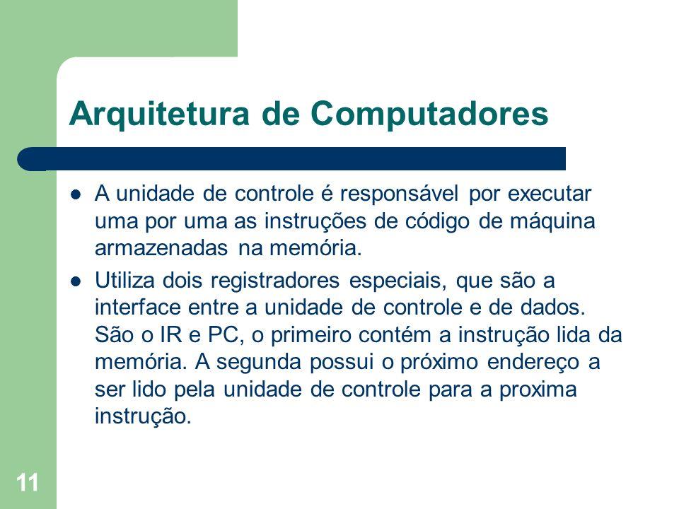 11 Arquitetura de Computadores A unidade de controle é responsável por executar uma por uma as instruções de código de máquina armazenadas na memória.