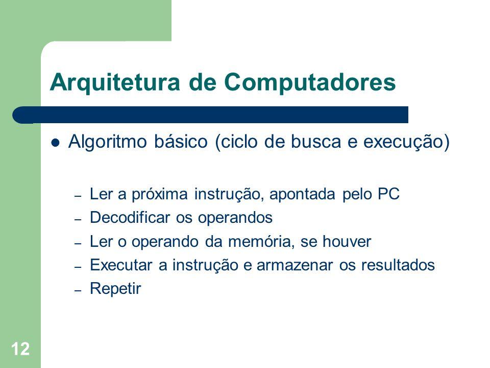 12 Arquitetura de Computadores Algoritmo básico (ciclo de busca e execução) – Ler a próxima instrução, apontada pelo PC – Decodificar os operandos – Ler o operando da memória, se houver – Executar a instrução e armazenar os resultados – Repetir