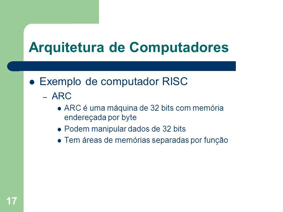 17 Arquitetura de Computadores Exemplo de computador RISC – ARC ARC é uma máquina de 32 bits com memória endereçada por byte Podem manipular dados de 32 bits Tem áreas de memórias separadas por função