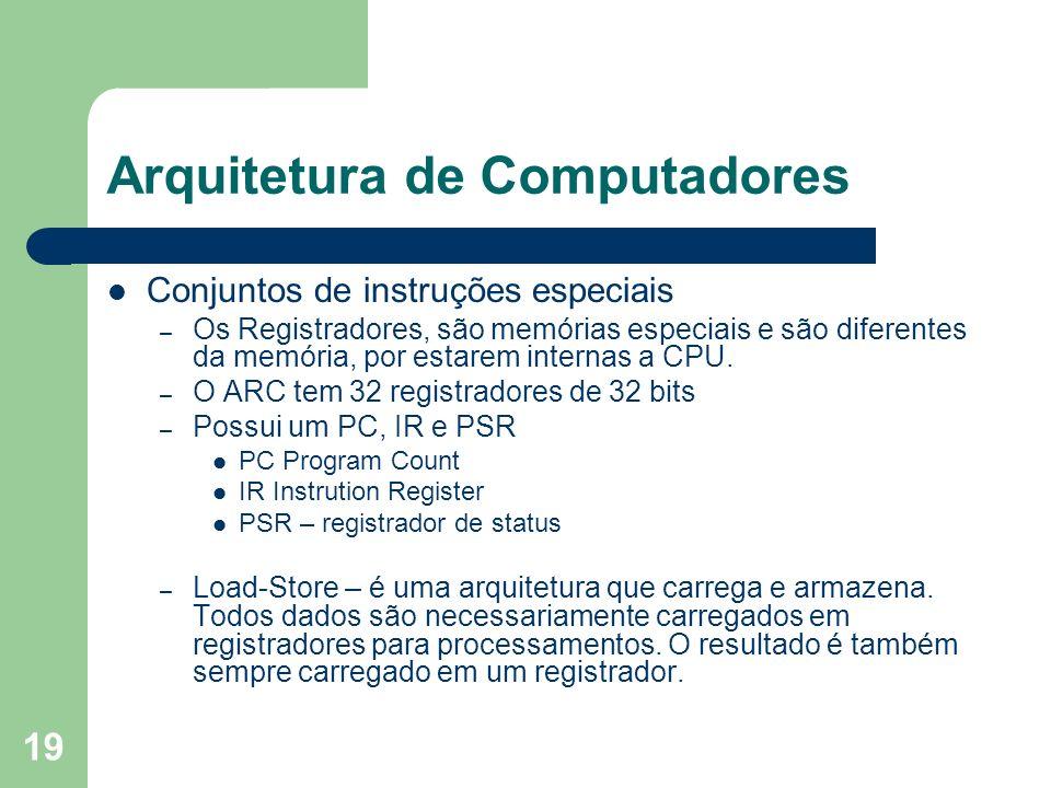 19 Arquitetura de Computadores Conjuntos de instruções especiais – Os Registradores, são memórias especiais e são diferentes da memória, por estarem internas a CPU.