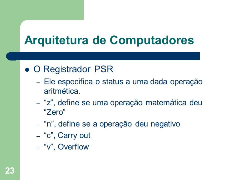 23 Arquitetura de Computadores O Registrador PSR – Ele especifica o status a uma dada operação aritmética. – z, define se uma operação matemática deu
