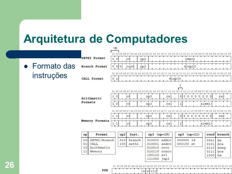 26 Arquitetura de Computadores Formato das instruções
