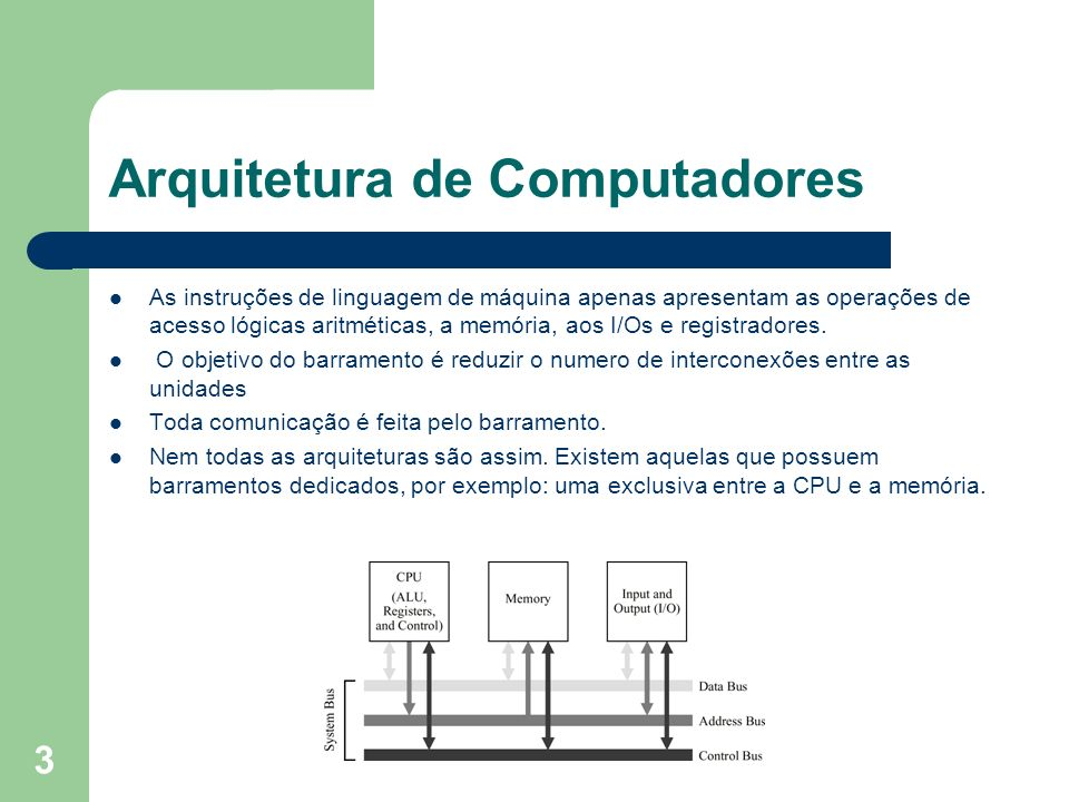3 Arquitetura de Computadores As instruções de linguagem de máquina apenas apresentam as operações de acesso lógicas aritméticas, a memória, aos I/Os e registradores.