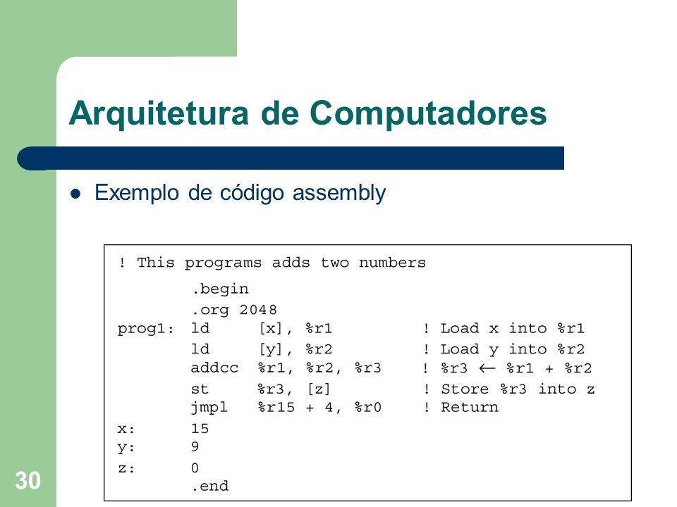 30 Arquitetura de Computadores Exemplo de código assembly