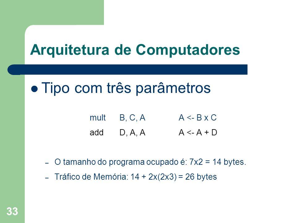 33 Arquitetura de Computadores Tipo com três parâmetros multB, C, AA <- B x C addD, A, AA <- A + D – O tamanho do programa ocupado é: 7x2 = 14 bytes.