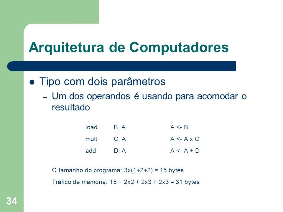 34 Arquitetura de Computadores Tipo com dois parâmetros – Um dos operandos é usando para acomodar o resultado loadB, A A <- B multC, AA <- A x C addD, AA <- A + D O tamanho do programa: 3x(1+2+2) = 15 bytes Tráfico de memória: 15 + 2x2 + 2x3 + 2x3 = 31 bytes