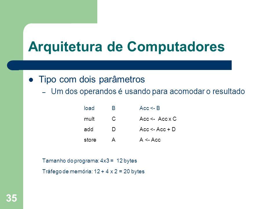 35 Arquitetura de Computadores Tipo com dois parâmetros – Um dos operandos é usando para acomodar o resultado load BAcc <- B multCAcc <- Acc x C addDAcc <- Acc + D storeAA <- Acc Tamanho do programa: 4x3 = 12 bytes Tráfego de memória: 12 + 4 x 2 = 20 bytes