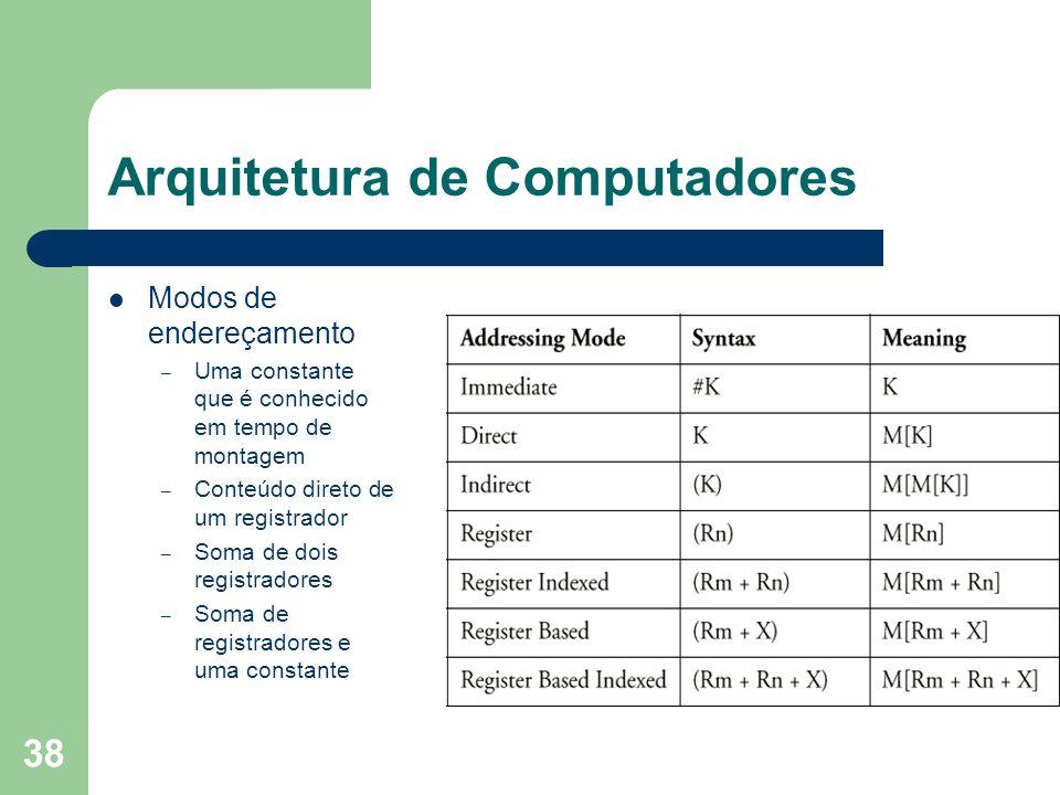 38 Arquitetura de Computadores Modos de endereçamento – Uma constante que é conhecido em tempo de montagem – Conteúdo direto de um registrador – Soma de dois registradores – Soma de registradores e uma constante