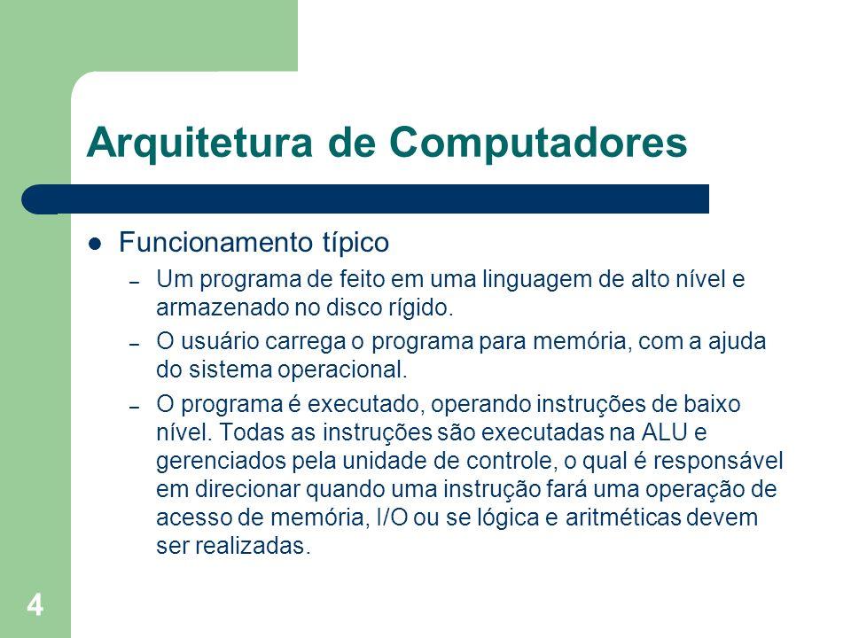 4 Arquitetura de Computadores Funcionamento típico – Um programa de feito em uma linguagem de alto nível e armazenado no disco rígido. – O usuário car