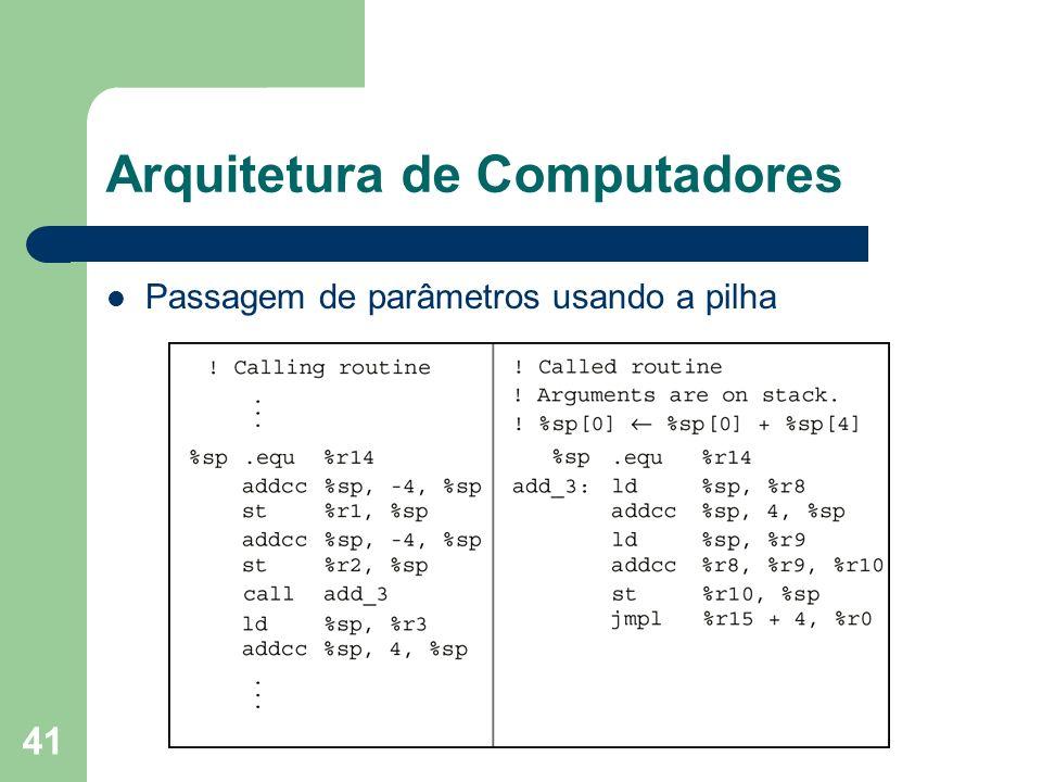 41 Arquitetura de Computadores Passagem de parâmetros usando a pilha