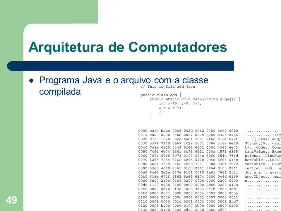 49 Arquitetura de Computadores Programa Java e o arquivo com a classe compilada