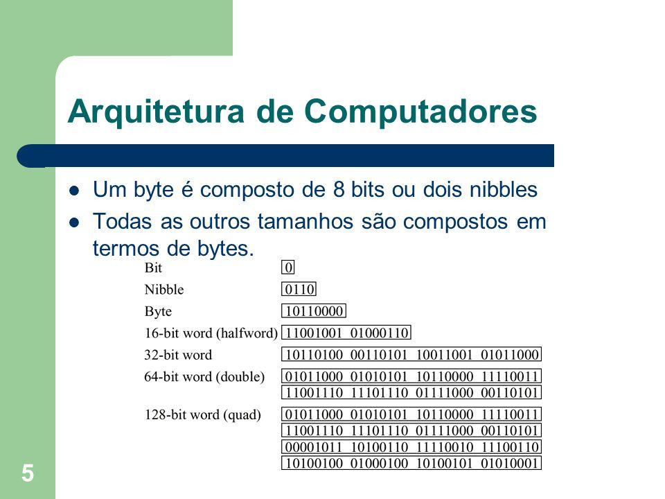 5 Arquitetura de Computadores Um byte é composto de 8 bits ou dois nibbles Todas as outros tamanhos são compostos em termos de bytes.