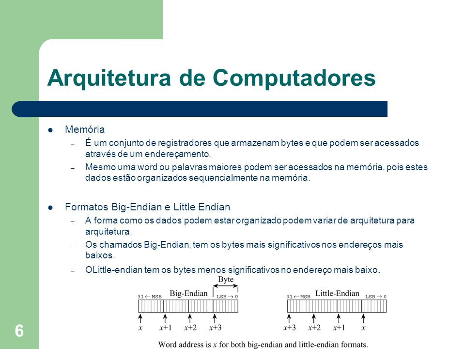 6 Arquitetura de Computadores Memória – É um conjunto de registradores que armazenam bytes e que podem ser acessados através de um endereçamento.