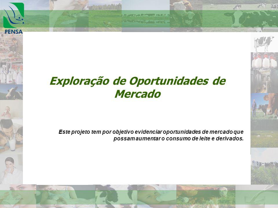 Exploração de Oportunidades de Mercado Este projeto tem por objetivo evidenciar oportunidades de mercado que possam aumentar o consumo de leite e deri