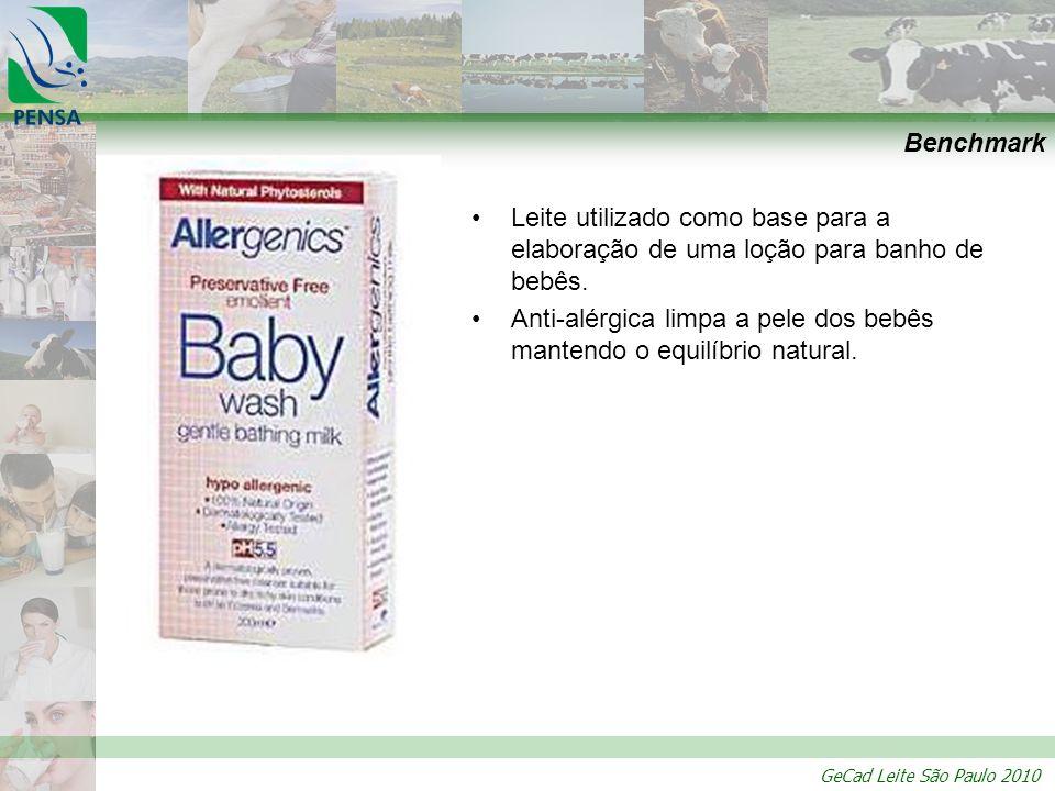 GeCad Leite São Paulo 2010 Benchmark Leite utilizado como base para a elaboração de uma loção para banho de bebês. Anti-alérgica limpa a pele dos bebê