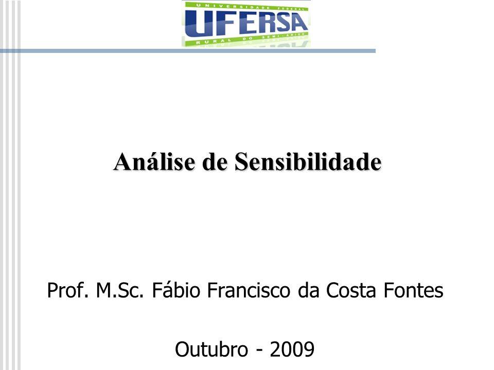Análise de Sensibilidade Prof. M.Sc. Fábio Francisco da Costa Fontes Outubro - 2009