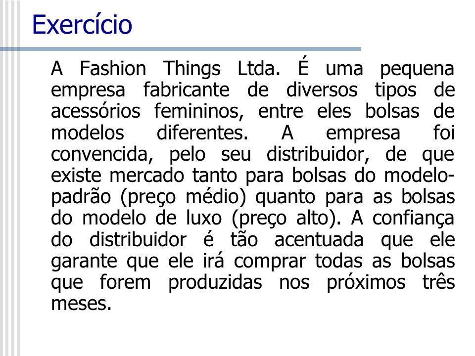 Exercício A Fashion Things Ltda. É uma pequena empresa fabricante de diversos tipos de acessórios femininos, entre eles bolsas de modelos diferentes.