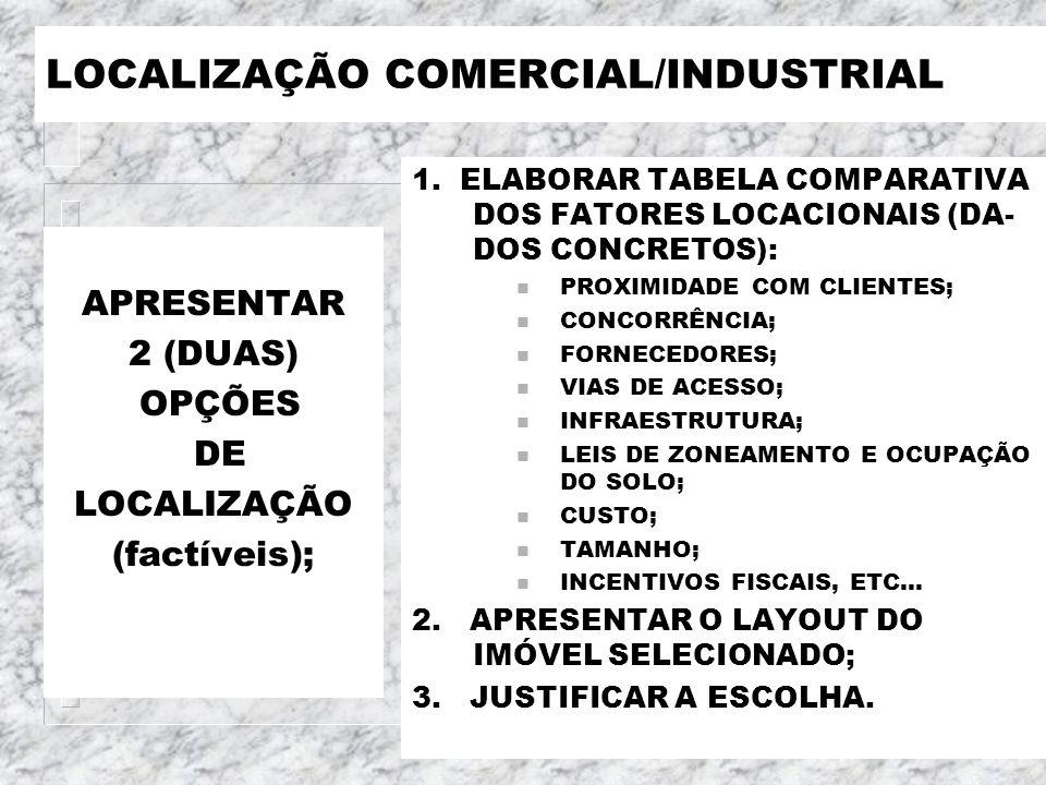 LOCALIZAÇÃO COMERCIAL/INDUSTRIAL APRESENTAR 2 (DUAS) OPÇÕES DE LOCALIZAÇÃO (factíveis); 1. ELABORAR TABELA COMPARATIVA DOS FATORES LOCACIONAIS (DA- DO