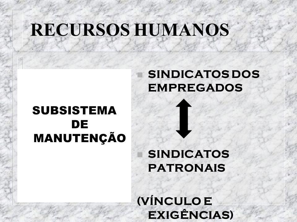 RECURSOS HUMANOS SUBSISTEMA DE MANUTENÇÃO n SINDICATOS DOS EMPREGADOS n SINDICATOS PATRONAIS (VÍNCULO E EXIGÊNCIAS)